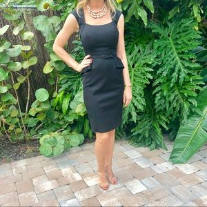Black peplum evening dress